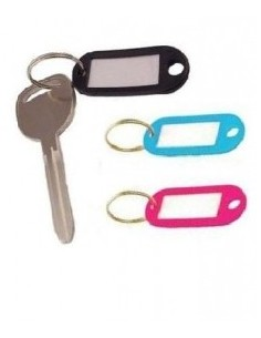 Key tags with metal rings...
