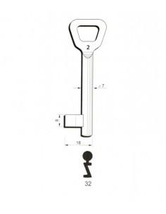 Key blank Hobes32 7mm